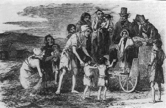 Miss Kennedy, seven-year-old daughter of Capt. Kennedy, Poor Law inspector of the Kilrush Union, distributing clothing to the destitute of the area. (Illustrated London News, 22 December 1849)