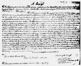 Benjamin Franklin's 1779 commission to Stephen Marchant of the Black Prince. In reality Ryan was the captain but the American Congress could only issue commissions to citizens of the United States.