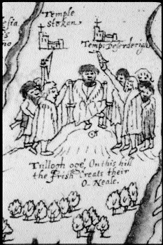 "The performance of the rite of the single shoe during the inauguration of the O'Neill at Tulach í""g, from an early seventeenth-century map of Ulster. The O'Neill is shown seated in the stone inauguration chair which is elevated on a small mound. (Dartmouth Collection, National Maritime Museum, Greenwich)"