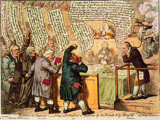 Leading Whigs, led by Charles J. Fox (left), give character evidence at the trial of Arthur O'Connor (right) in James Gillray's vicious caricature. (British Museum)