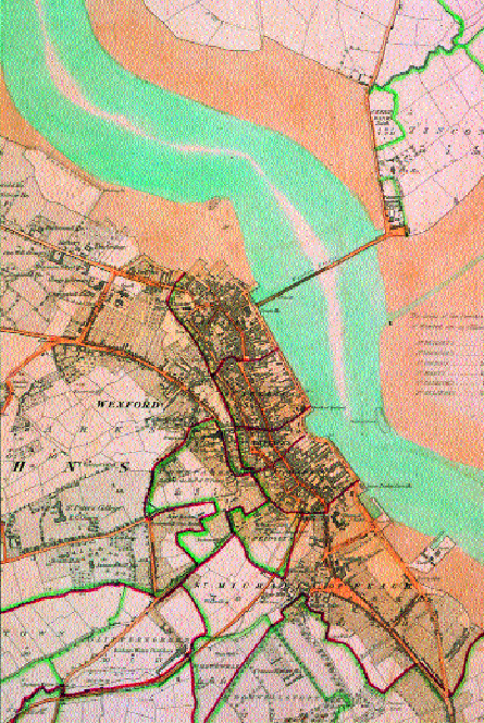 Wexford town, 1830s. (Ordnance Survey, first edition 1839-40)