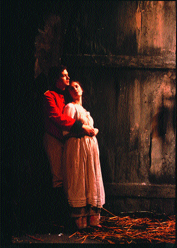 Yolland (Damien Matthews) embraces Máire (Fiona McGeown) in the Abbey Theatre's 2000 production of Brian Friel's Translations. (Tom Lawlor)