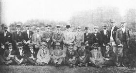 Some members of the RIC depot sports club, committee and friends, August 1898. Reed is standing in the centre wearing a bowler hat. (Royal Ulster Constabulary GC Museum)