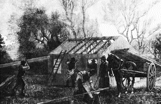 Building a Ladies' Land League hut. (Illustrated London News, 10 December 1881)