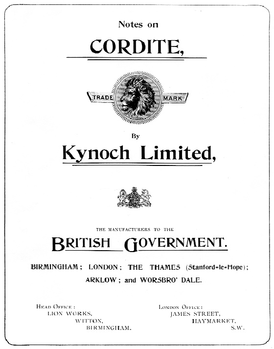 A Kynoch marketing pamphlet extolling the virtues of the revolutionary new explosive, cordite. (Birmingham City Archive)
