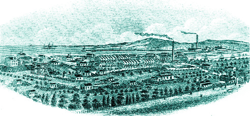 Seaward view of the factory. Note that many of the smaller buildings in the foreground are ringed by mounds of sand to protect surrounding buildings in the event of an explosion. (Under five flags: the story of Kynoch works 1862–1962)