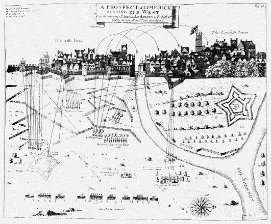 'A prospect of Limerick bearing due west' illustrating the siege of Limerick. (Ulster Museum)