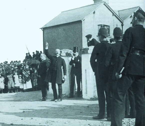 Late nineteenth-century evangelical preacher addressing a crowd under police protection. Daly's evangelical Protestantism inspired his religion and his responses to the various issues he encountered during a long life. (Michael Tutty)