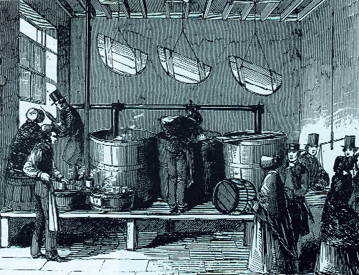 While Quaker kitchens such as this one in Cork distributed soup 'with no strings attached', Daly's operation in Waterford was accused of 'souperism', the securing of conversions in return for soup. (Illustrated London News, 16 January 1847)