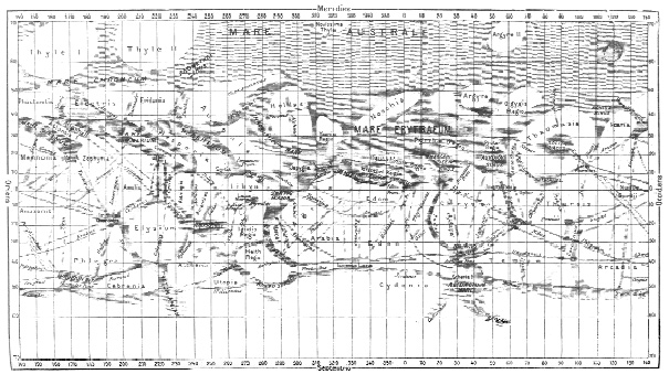 Italian astronomer Schiaparelli's sensational diagram of the network of canali (natural grooves) that he reported seeing on the Martian surface.