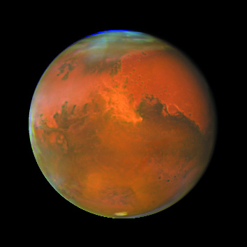 A recent view of Mars as seen from the Hubble space telescope. (NASA)