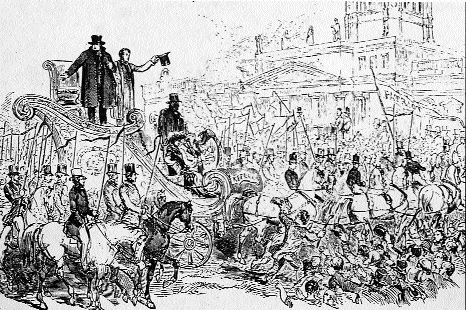 O'Connell, standing on his 'triumphal chariot', celebrates his release from prison on Saturday, 6 September 1844. In fact he had been released the previous evening.