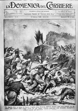 Domenica del Corriere, weekend supplement of the Italian newspaper Corriere della Sera depicting Italian Blackshirts in action Ethiopian forces, January 1936.