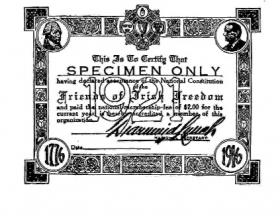 FOIF membership card, signed by secretary Diarmuid Lynch, for 1921. Membership by then was already in steep decline (see right).
