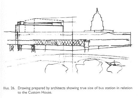 The photomontage of what the Irish Times claimed the new bus station would look like and architect Michael Scott's sketch suggesting misrepresentation. The solid lines of the actual plans are contrasted with the dotted lines of the higher Irish Times version. In April 1947 Scott got an apology and costs.rnment preferred Smithfield.