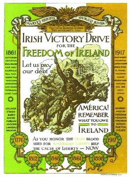 Friends of Irish Freedom Victory Drive leaflet (1919), depicting soldiers of the Irish-American 69th Regiment in action during the First World War. (American Irish Historical Society)
