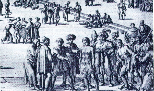 Engraving of a Moorish slave auction from Pierre Dan's Historie van Barbaryan en des zelfs Zee-Roovers (Amsterdam, 1684). There they were paraded, chained and nearly naked, while prospective buyers inspected the merchandise.