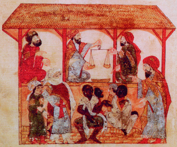 A slave market in Zabid, Yemen, 1237. The actual sale price achieved depended on the abilities of the individual, plus an estimation of how high a ransom could be demanded for them. (Topkapi Saray Museum)