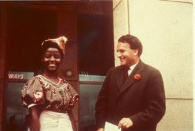 Terence Ranger outside Salisbury airport with one of his students, Mutumba Mainga, on the day of his deportation from Southern Rhodesia in March 1963.