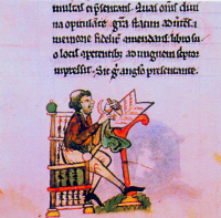 A scribe as represented in Topographia Hiberniae. (National Library of Ireland)