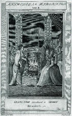Grace O'Malley (left) is presented at court to Queen Elizabeth I (right) in 1593. (Anthologia Hibernica, vol. II)