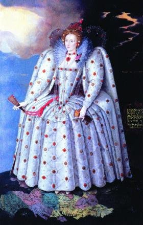 Queen Elizabeth I c. 1593—despite Bingham's protests, she agreed to hear Gráinne's petition and have her claim investigated. (National Portrait Gallery, London)