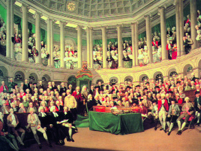 The Irish House of Commons [1780] by Francis Wheatley. (Leeds City Art Gallery)