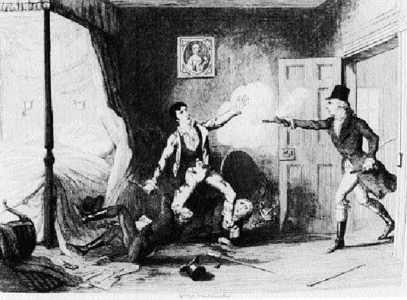 Lord Edward Fitzgerald was arrested on 19 May 1798 on foot of information disclosed by Francis Magan to his 'controller', Francis Higgins, a.k.a. 'the Sham Squire'. (George Cruikshank)