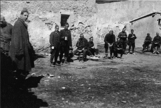 Soldiers of O'Duffy's Irish Brigade at a cookhouse in Spain. (Michael Kellett)