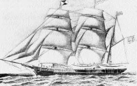 The Gazelle, the whaler which rescued O'Reilly in 1869.