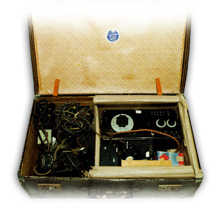 O'Reilly's radio transmitter in a British-made suitcase. (OIC, Military Archives, Cathal Brugha Barracks)