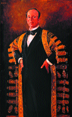 Lord Londonderry in the Chancellor's robes of Queen's University, Belfast, by William Conor. (Ulster Museum)