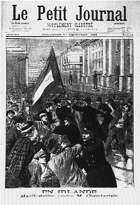 Back home nationalist Ireland was engulfed by pro-Boer fever-an anti-war demonstration (complete with Boer flag) outside Trinity College, Dublin. (Le Petit Journal, 31 December 1899)