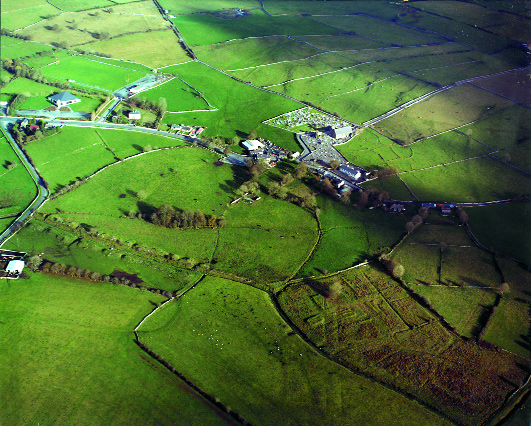 Mayo Abbey-remnants of a large enclosure (dotted line) of over 400 metres diameter are still visible. (Gerry Bracken)