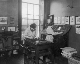 Mollie (right) became principal compositor of the Cuala Press in 1937, when this picture was taken at its Baggot Street premises. (Loretta Clarke Murray)