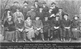 Dr Kathleen Lynn (seated third from left, beside Arthur Griffith) with other delegates at the Sinn Féin Árd Fheis, 23 May 1922. She was the first woman doctor to obtain all her undergraduate medical training in Ireland. (Irish Historical Picture Company)