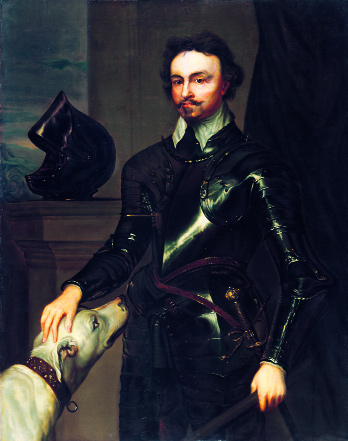 Portrait of Thomas Wentworth, first Earl of Strafford, lord deputy 1633-40, by an unknown artist after Sir Anthony Van Dyck. (National Portrait Gallery, London). Wentworth was painted three times by Van Dyck - as commander-in-chief with a submissive Irish hound, as a general with an army ready at the seaside and as a parliamentarian and administrator.