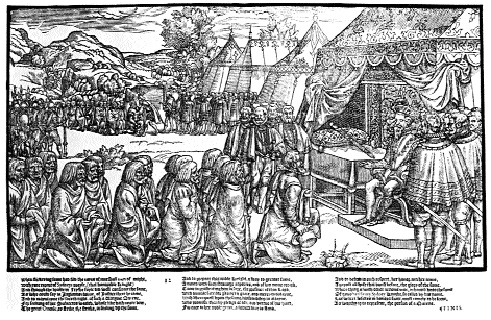 Sir Henry Sidney taking the submission of Turlough O'Neill. This woodcut from John Derrick's Image of Irelande shows the parphernalia of state being displayed on vice-regal progress to impress the natives.