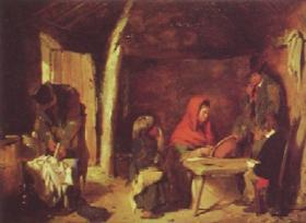 Scene in an Irish cabin by Erskine Nicol, 1851. In the Tallaght area Dr Burkitt described badly furnished and ventilated cabins, many without windows, 'which are deficient of the necessary comforts'. (Sheffield Art Museums)