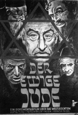 Poster for The Eternal Jew: a documentary film on world Jewry, a typical example of Nazi anti-semitic propaganda-Pokorny's assertion that he sympathised with the aims of the Nazi government in spite of his Jewish background was to no avail: he was pensioned off in 1936.