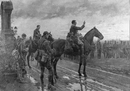 Reproduction of Mantania's painting-Fr Gleeson gives absolution to the 2nd battalion before the battle at Rue du Bois, 9 May 1915. (Kevin Myers)