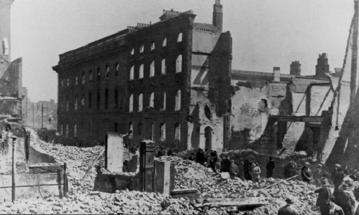 The north side of the GPO along Henry Street. McLaughlin had to lead the evacuating Volunteers across Henry Street to Moore Street, to the extreme left of this picture. (National Museum of Ireland)