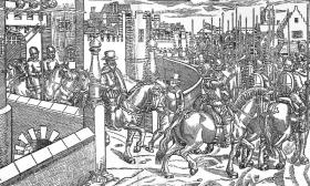 Sir Henry Sidney riding out from Dublin Castle. Overlooking him, suspended on spikes over the main gate, are the 'trunkless heddes' of three bearded Irishmen killed on his orders. (John Derricke's The Image of Irelande, 1581)