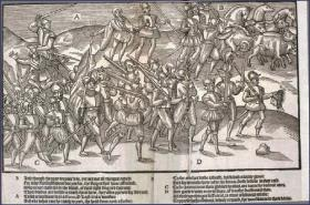 English soldiers return from battle in triumph, carrying the severed heads of their Irish enemies. (John Derricke's The Image of Irelande, 1581)