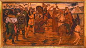 Brian Boru, high king of Ireland, blesses his troops before the Battle of Clontarf, 1014—one of James Ward's early twentieth-century frescos in Dublin's City Hall. (Dublin City Council)