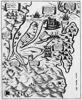 The siege of Dunboy-Kinsale did not mark the end of resistance in Munster; the O'Sullivan's heroic defence of Dunboy lasted until June 1602. (Thomas Stafford, Pacta Hibernia, 1633)