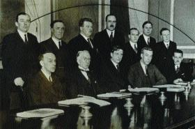 De Valera's cabinet in 1932. De Valera did not consult them about the constitution, so tight was the drafting process.