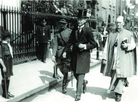 Governor-General James MacNeill about to enter the Pro-cathedral during the Eucharistic Congress in 1932. Note that he is all alone; there are no government ministers accompanying him. De Valera's government snubbed MacNeill at every opportunity as part of the process of demeaning the office of governor-general. (Cork Examiner)