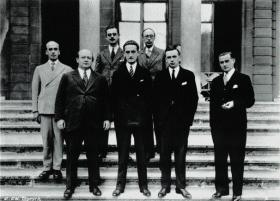 At the League of Nations, Geneva, 1931 (left to right, front row): Minister for Education J.M. O'Sullivan, Attorney-General John A. Costello and John Hearne, legal adviser to the Department of External Affairs. The original draft was largely Hearne's work.