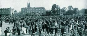 The garden party at Blackrock College during the Eucharistic Congress. The host, college principal Fr John Charles McQuaid, ensured that the papal legate and the governor-general did not meet on this occasion. (Sport and General)